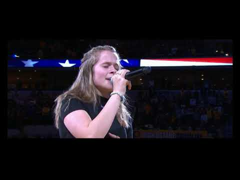 Indiana Pacers video of National Anthem performed by 14 yo Jensen Snyder