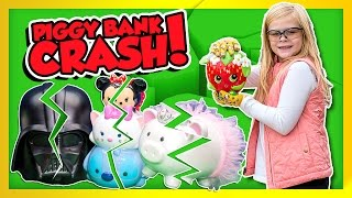 ASSISTANT Piggy Bank Surprise with Shopkins +Tsum Tsum + Paw Patrol Surpise Toys Video