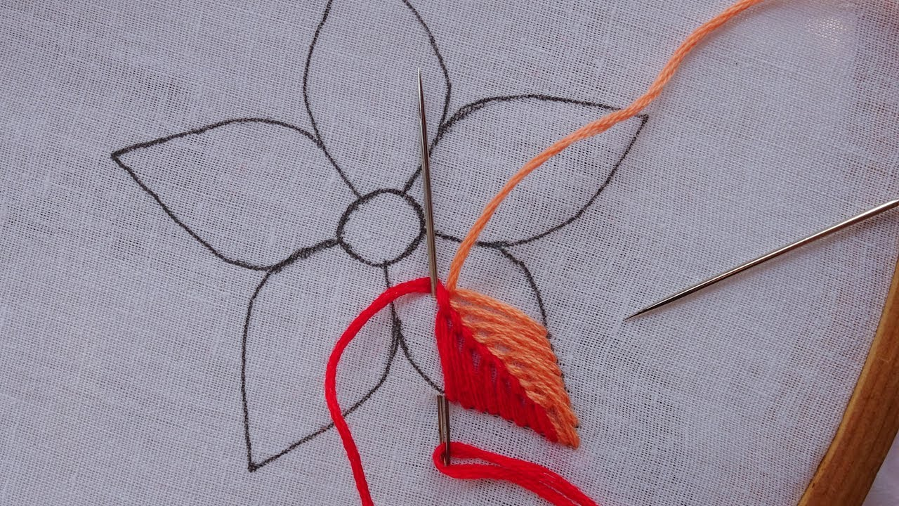 Hand Embroidery Unique Flower Design By Rose World Super Easy