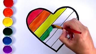 Dibuja un Corazon de Arcoiris| Dibuja y Colorea con Amiguitos123
