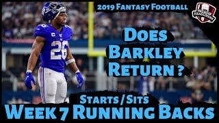 2019 Fantasy Football Advice - Week 7 Running Backs - Start or Sit Every Match Up