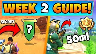 "Fortnite WEEK 2 CHALLENGES GUIDE! - SECRET BANNER ""Treasure Star,"" 50m Elim (Battle Royale Season 6)"