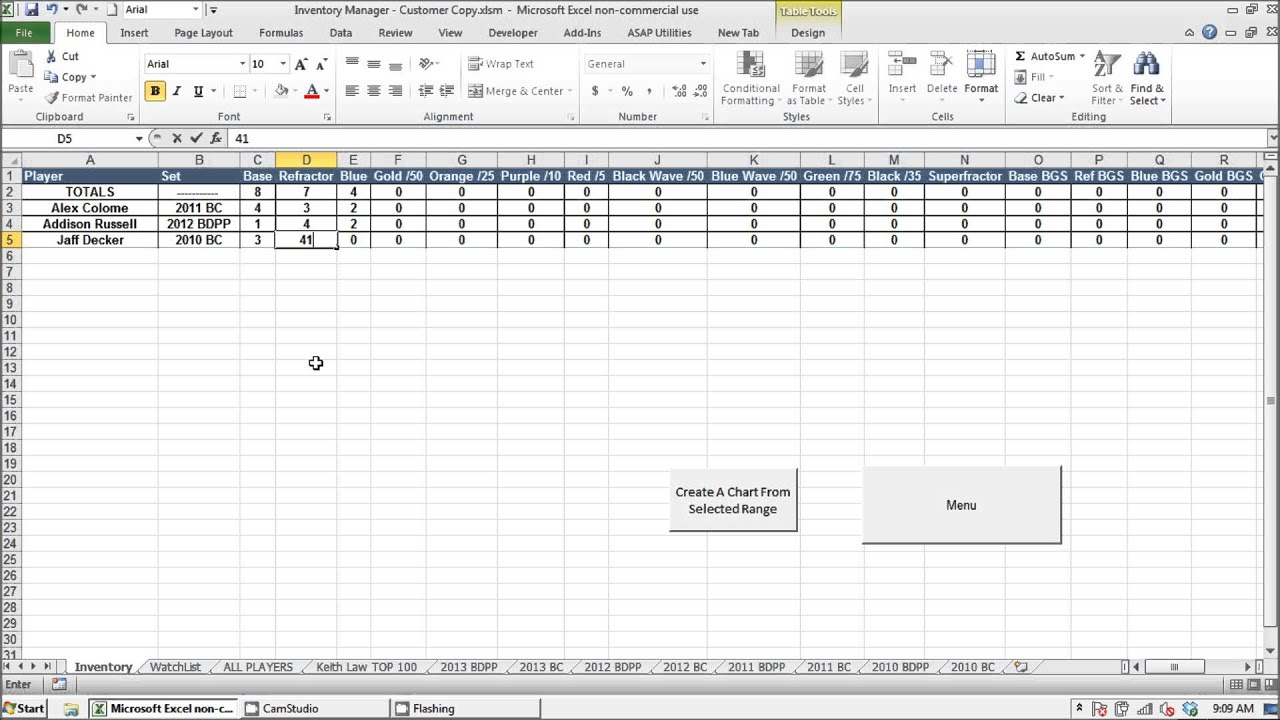 Prospect Baseball Cards Inventory Manager Excel Program   ProspectsForCash    YouTube  Inventory Card Template
