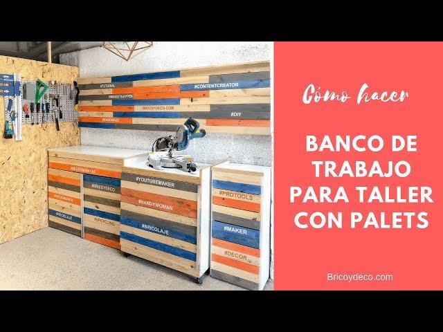 Banco de trabajo para taller con palets | DIY PALLET RECICLADO Y DECORAR CON MADERA
