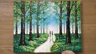 Walking in Green Forest   Cotton Swabs Painting Technique  473
