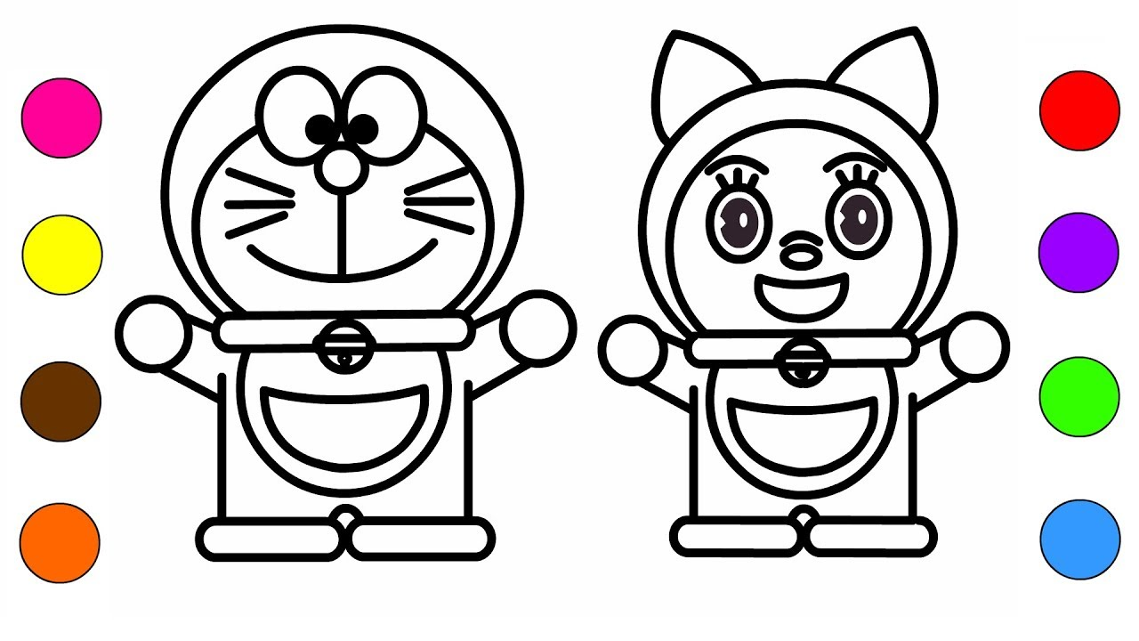 Learn Colors With Doraemon And Dorami Coloring Pages For Kids Children Cartoon Book