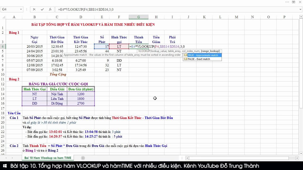 Bài tập 10. Tổng hợp hàm Vlookup và hàm TIME (Microsoft Excel 2016)