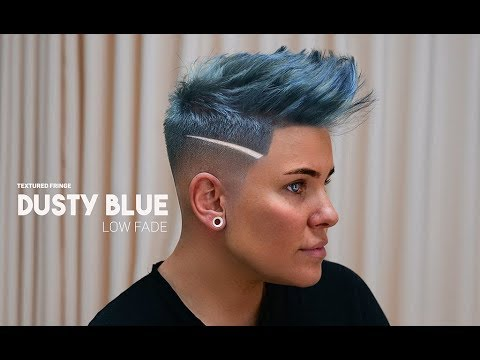 Textured Fringe - Dusty Blue - Low Fade - Women's hairstyle inspiration thumbnail