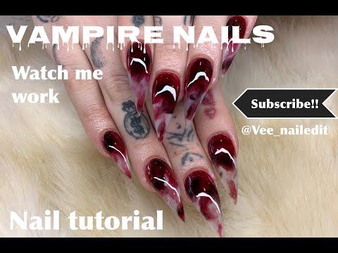 Halloween Vampire blood Nails! | Nail Tutorial| Watch me work thumbnail