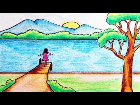 Cara Menggambar Pemandangan Tepian Danau Dengan Oil Pastels