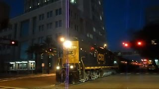 CSX Street Runner Train Through Downtown Tampa Florida