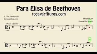 Para Elisa de Beethoven Partitura de Viola en Clave de Do