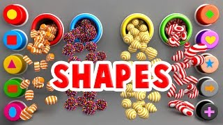 Learn Shapes for Toddlers Kids Babies with A Lot of 3D Candy Surprise Eggs