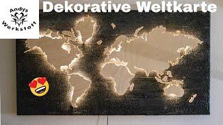 DIY Weltkarte auf verbranntem Holz mit LED