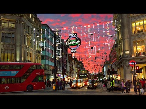 London Walk - Oxford Street Christmas Lights and Xmas Window Displays - England, UK