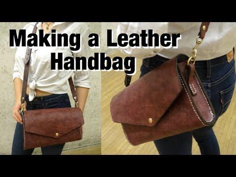 DIY Denim-Lined Leather Handbag With Basic Tools | Leathercraft