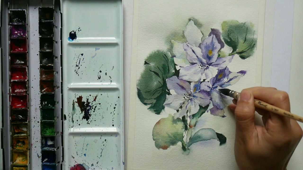 Comment Peindre La Jacinthe Du0027eau En Aquarelle (Francais)