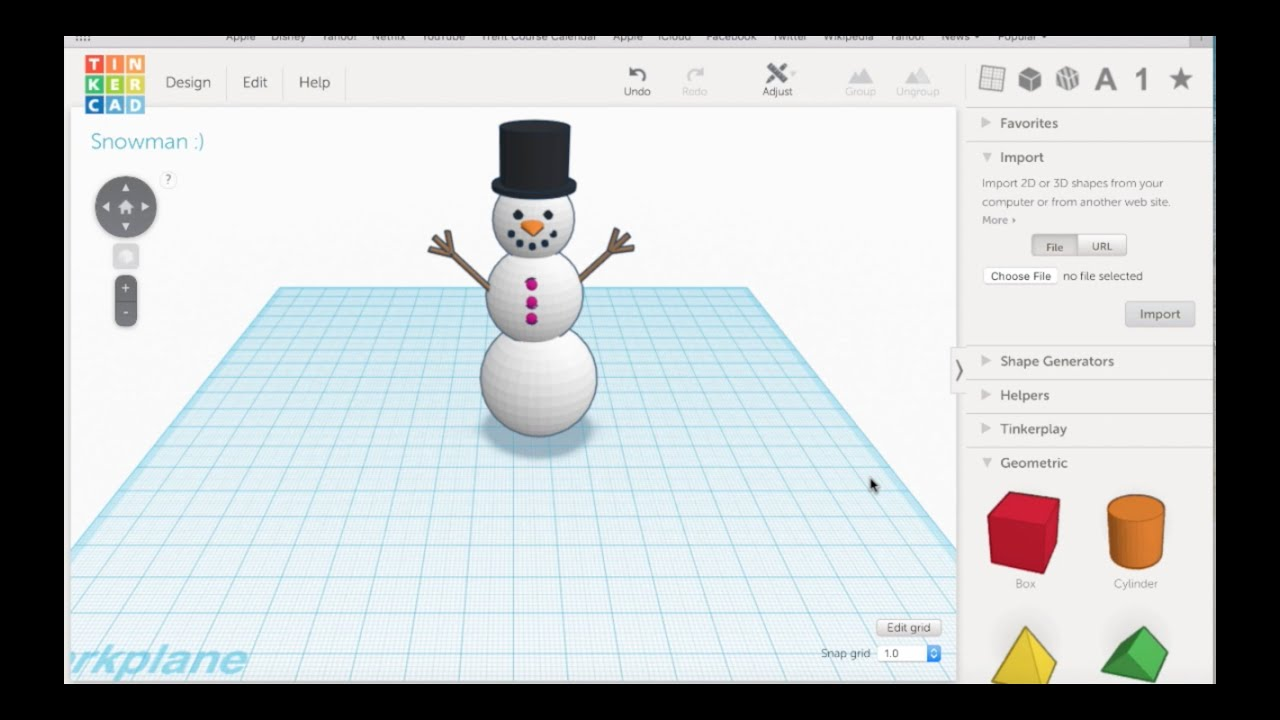 Tinkercad tutorial how to build a snowman youtube Tinkercad 3d