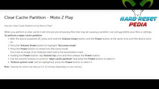 ☑️ Moto Z Play How to Wipe Cache Partition