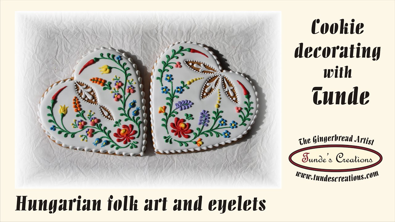 Big heart cookie with hungarian folk art flowers and eyelets youtube