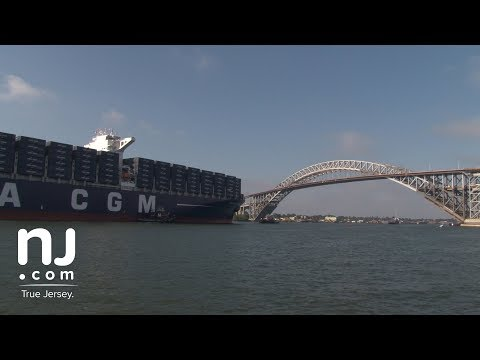The Bayonne Bridge welcomes the largest ship to visit the east coast
