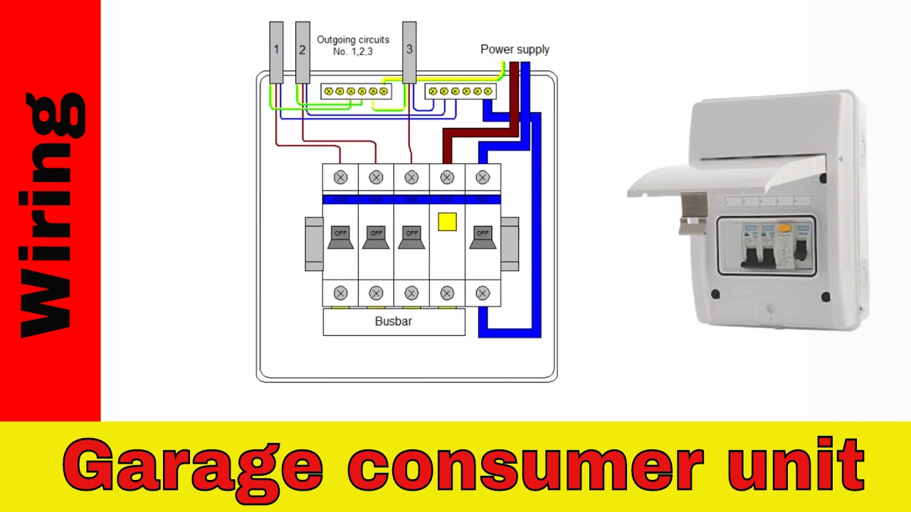 how to wire rcd in garage shed consumer unit uk consumer unit rh youtube com Wiring a Garage Workshop Garage Electric Wiring Examples