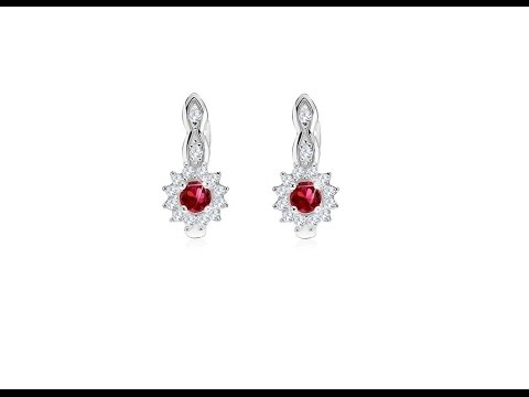 Jewellery - 925 silver earrings, round red zircon, clear edging