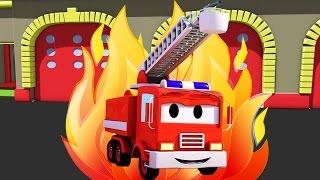 İtfaiye kamyonu Araba Şehri'nde   Araba ve Kamyon inşaat çizgi filmi (çocuklar için)