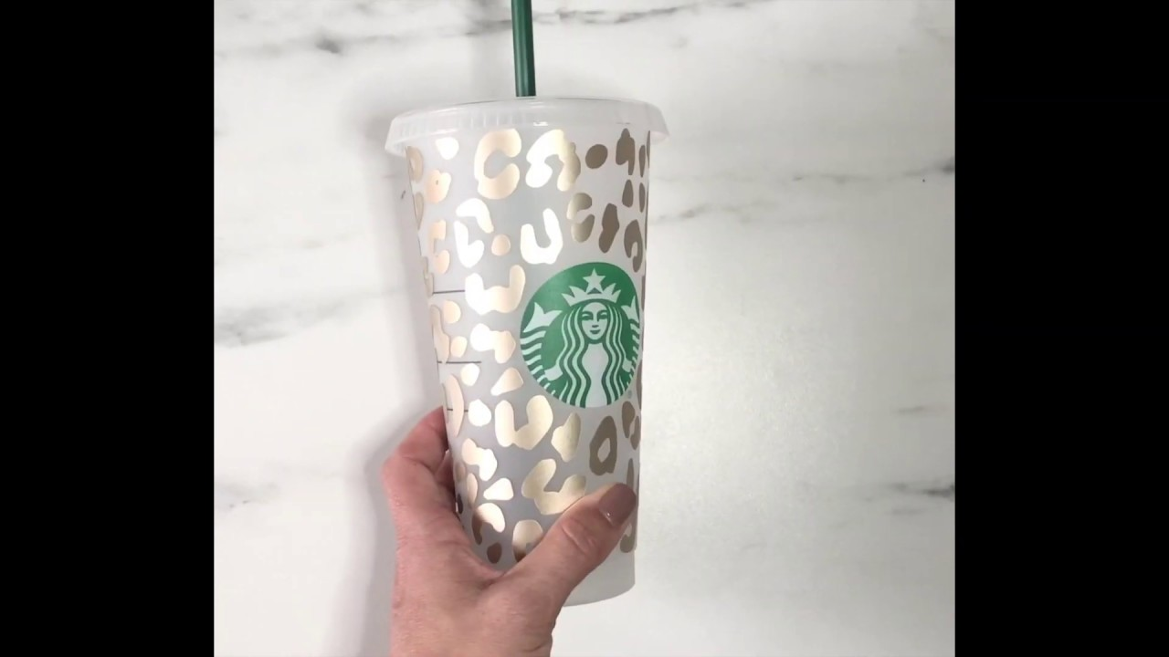 How To Apply Leopard Print Vinyl On Starbucks Cup Youtube