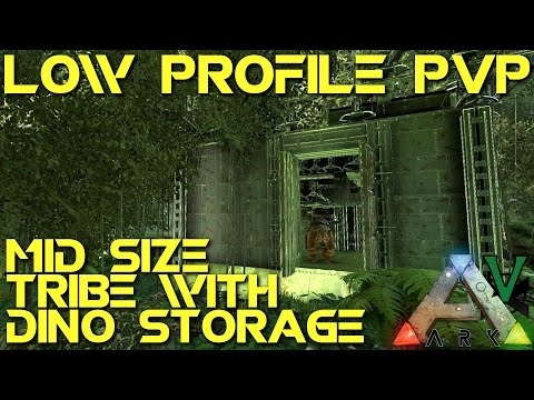 5x5 Mid Tribe With Dino Storage! | Low Profile PVP Base Build Guide | ARK: Survival Evolved