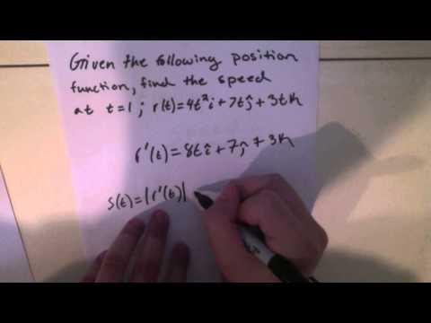Speed (magnitude of velocity) Calculus 3