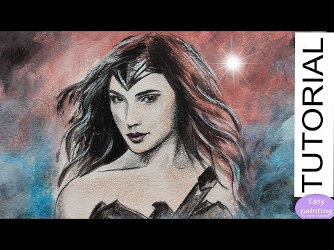 Painting Wonder Woman Gal Gadot. How to paint drawing tutorial גל גדות