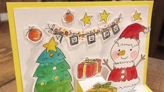 수채화 크리스마스 팝업 입체 카드 만들기(水彩画 イラス…