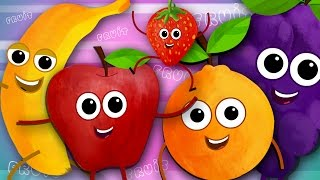 Repeat youtube video Five Little Fruits | Fruits Song | Learn Fruits | Nursery Rhymes | Kids Songs