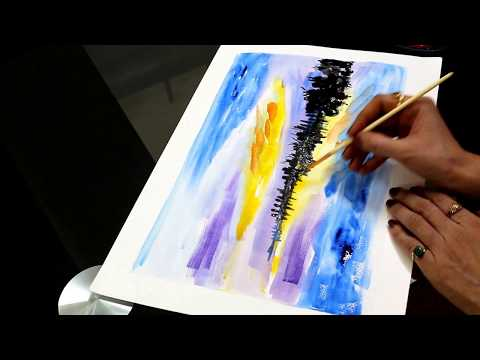 How To Paint Simple Landscape With Watercolors-For Beginners