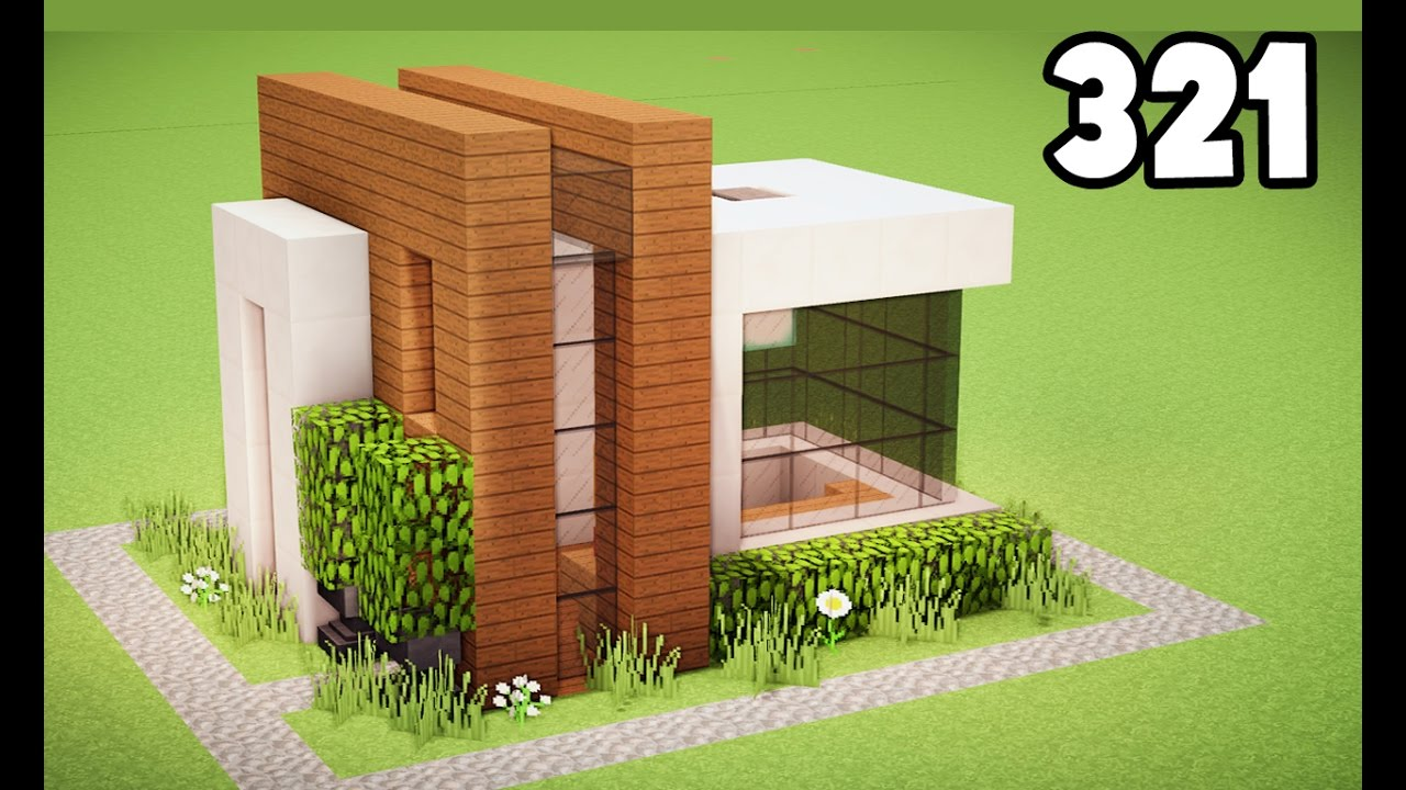 Minecraft como construir uma pequena casa moderna for Casa moderna tutorial facil de hacer