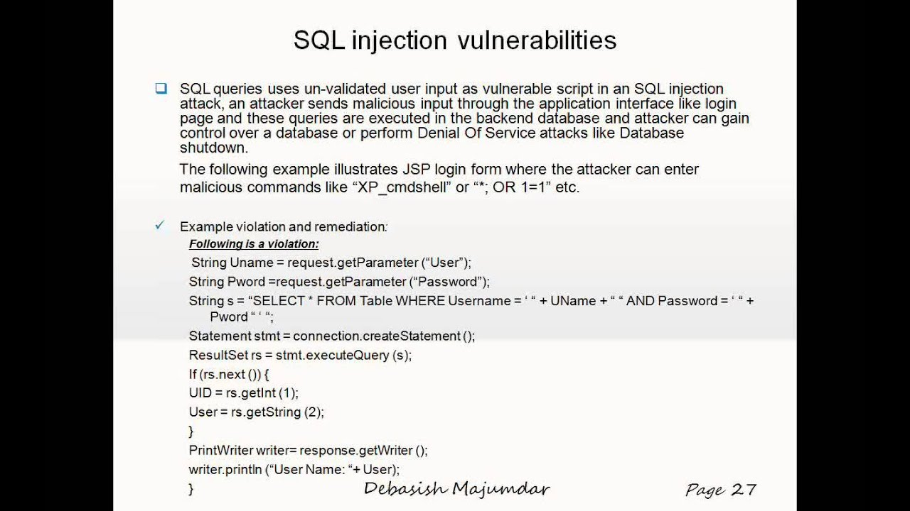 Web Security Vulnerabilities Remediation in Java J2EE Application