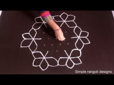 SIMPLE FLOWERS RANGOLI DESIGNS WITH 9 TO 5 | EASY KOLAM FOR PONGAL
