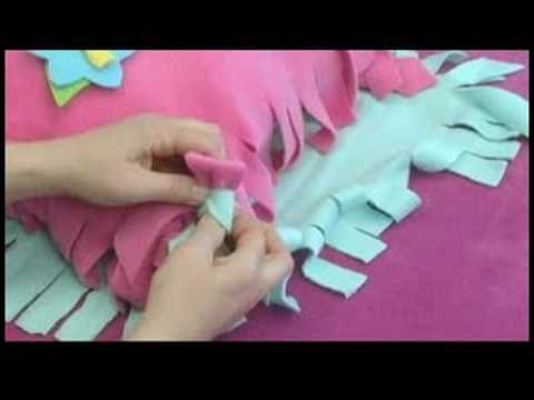 No-Sew Fleece Hat, Scarf & Pillow : Knotting a No-Sew Fleece Pillow ...