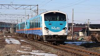 青い森鉄道 キハ48形8762D「リゾートうみねこ下北2号」 陸奥市川駅通過 2019年1月14日