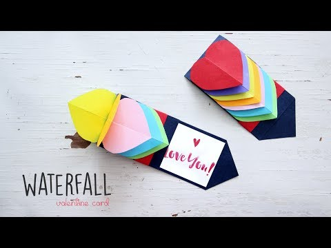 How to make Waterfall Card | Valentine Card | DIY Craft | Ventuno Art