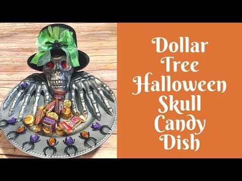 Dollar Tree Halloween Crafts: Dollar Tree Skull Candy Dish