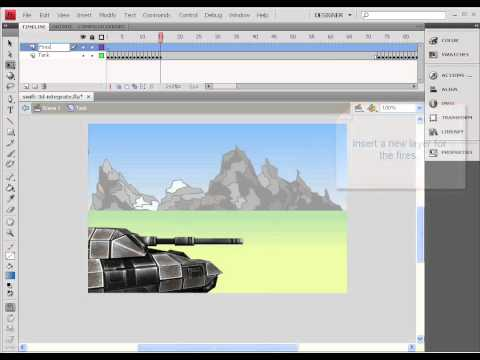 Flash 3D animation - tank firing