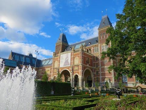 Amsterdam, The Netherlands - Rijksmuseum gardens & plazas