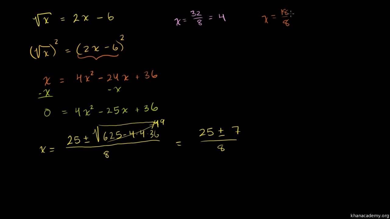3ee6a9c30e03 Introducción a ecuaciones con raíz cuadrada y soluciones extrañas (video)