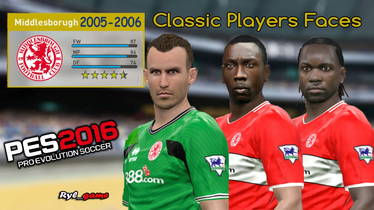 Middlesbrough Classic Players Faces / PES2016