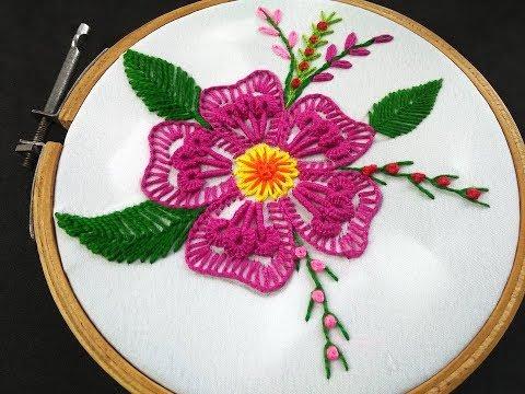 Hand Embroidery  Fantasy Flower Stitch  Brazilian Flower Embroidery Brazilian Embroidery Tutorial