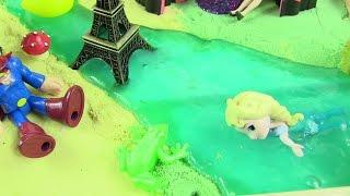Hướng Dẫn Làm Phong Cảnh Tháp Eiffel Dòng Sông Slime / Mở Đồ Chơi Tiệm tóc Của Búp bê Barbie