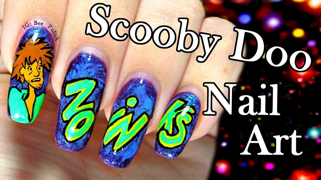 Scooby Doo Halloween Nail Art And Diy Nail Decals Zoinks Youtube