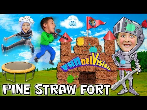 BACKYARD FORT Project w  Paintballs and Pine Straw + Strength Test FUNnel V Vlog